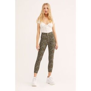 Free People Belle Leopard High Rise Skinny Pants